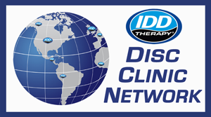 IDD Therapy Disc Clinic Network Logo showing globe with countries with IDD